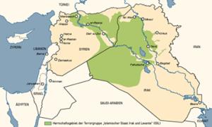 """Mutmaßliches Herrschaftsgebiet der Terrorgruppe """"Islamischer Staat"""". Karte: Telepolis"""